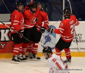 IIHF U18 World Championship 2014 Finland  1/4Final CAN-SUI Ryan Pilon #7 , Ryan Gropp #21 , Jake Virtanen #19