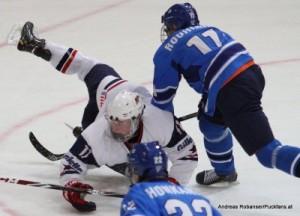 IIHF U18 World Championship 2014 Finland  USA-FIN Jack Eichel #11, Jere Rouhiainen #11