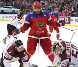 IIHF World Championship 2014  Rodrigo Lavins #2 , Alexander Ovechkin #8 , Kristers Gudlevskis #50