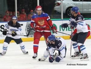 IIHF World Championship 2014  Petri Kontiola #21, Leo Komarov #71 , Anton Belov #77