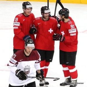 IIHF World Championship 2014   Simon Moser #82 , Armands Berzins #21, Reto Schäppi #19 , Robin Grossmann #91 , Dominik Schlumpf #27