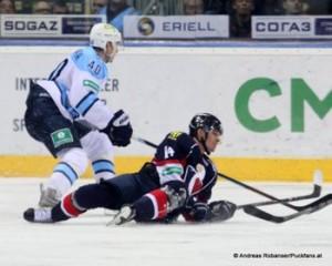 Slovan Bratislava - Sibir NovosibirskKHL Saison  Jarno Koskiranta  #40, Vaclav Nedorost #14 © Andreas Robanser/Puckfans.at