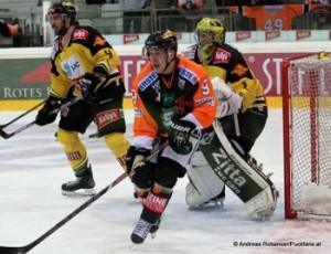 Vienna Capitals - Graz 99ers EBEL Saison 14/15 Philippe Lakos #4,  Miikka Männikkö #9