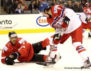 IIHF World Junior Championship 2015 Air Canada Center, Toronto Tschechien - Schweiz Edson Harlacher #6, David Pastrnak #9