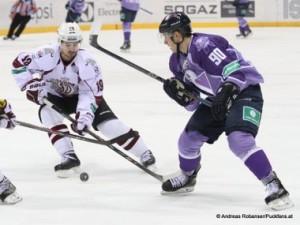 Slovan Bratislava - Dinamo Riga KHL Saison 2014/15 Libor Hudacek  #90, Mikelis Redlihs #19