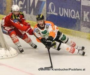 Graz 99ers - EC KAC Jason DESANTIS (KAC) & Marek ZAGRAPAN (Graz 99ers) © Werner Krainbucher/Puckfans.at