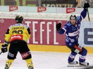 Vienna Capitals - Fehervar AV19 EBEL 1/4Finale Game 2 Sven Klimbacher #29, Istvan Bartalis  #10 © Andreas Robanser/Puckfans.at