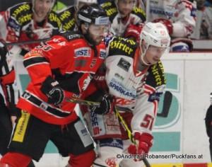 EBEL Playoff 1/4 Finale HC Orli Znojmo - EC KAC Martin Baca #55, Oliver Setzinger #51 © Andreas Robanser/Puckfans.at