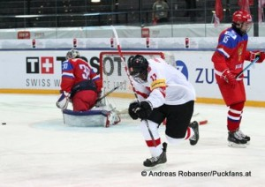 IIHF U18 World Championship  , 1/4 Final RUS - SUI Ilya Samsonov #30, German Rubtsov #15, Auguste Impose #11, © Andreas Robanser/Puckfans.at