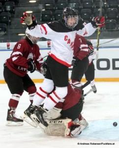 IIHF U18 World Championship CAN - LAT Karlis Cukste #6, Jansen Harkins #12 © Andreas Robanser/Puckfans.at