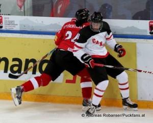 IIHF U18 World Championship SUI - CAN Jonas Siegenthaler #24, Pierre Luc Dubois #8 © Andreas Robanser/Puckfans.at