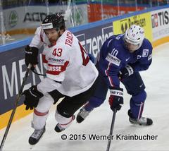 IIHF World Championship 2015 Preliminary Round FRA - SUI Morris TRACHSLER (SUI); Laurent MEUNIER (FRA) ⒸWerner Krainbucher/Puckfans.at