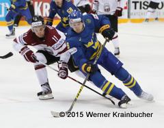 IIHF World Championship 2015 Preliminary Round LAT - SWE Kristaps SOTNIEKS (LAT); Filip FORSBERG (SWE) ⒸWerner Krainbucher/Puckfans.at