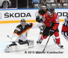 IIHF World Championship 2015 Preliminary Round SUI - GER Timo PIELMEIER (GER); Matthias BIEBER (SUI) ⒸWerner Krainbucher/Puckfans.at