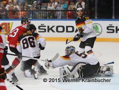 IIHF World Championship 2015 Preliminary Round SUI - GER Timo PIELMEIER (GER), Daniel Pietta #86, Benedikt Kohl #34 ⒸWerner Krainbucher/Puckfans.at