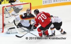 IIHF World Championship 2015 Preliminary Round SUI - GER Timo PIELMEIER (GER), Denis HOLLENSTEIN (SUI) & Daniel PIETTA (GER) ⒸWerner Krainbucher/Puckfans.at