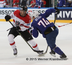 IIHF World Championship 2015 Preliminary Round AUT - FRA Michael RAFFL (AUT); Nicolas BESCH (FRA) ⒸWerner Krainbucher/Puckfans.at