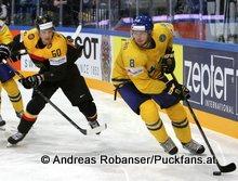 IIHF World Championship 2015 Preliminary Round SWE - GER Patrick Hager #50, Petter Granberg #8 © Andreas Robanser/Puckfans.at