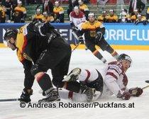 IIHF World Championship 2015 Preliminary Round GER - LAT Matthias Plachta #22, Gunars Skvorcovs #73 © Andreas Robanser/Puckfans.at