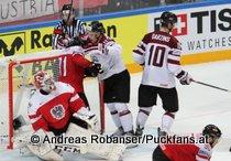 IIHF World Championship 2015 Preliminary Round AUT - LAT Bernhard Starkbaum #29, Kristaps Sotnieks #11, Lauris Darzins #10, Alexander Pallestrang #90 © Andreas Robanser/Puckfans.at