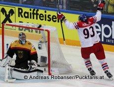 IIHF World Championship 2015 Preliminary Round GER - CZE Timo Pielmeier #51, Jakub Voracek #93 © Andreas Robanser/Puckfans.at