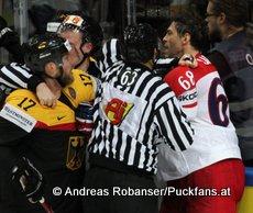 IIHF World Championship 2015 Preliminary Round GER - CZE Marcus Kink #17, Jaromír Jágr #68 © Andreas Robanser/Puckfans.at