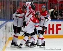 IIHF World Championship 2015 Preliminary Round GER - AUT Torjubel  Österreich Thomas Hundertpfund #27, Rafael Rotter #6 © Andreas Robanser/Puckfans.at
