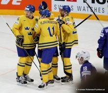 IIHF World Championship 2015 Preliminary Round SWE - FRA Jacob Josefson #16.Oscar Klefbom #84, Joel Lundqvist #20, Simon Hjalmarsson #11 © Andreas Robanser/Puckfans.at