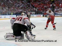 IIHF World Championship 2015 Preliminary Round CZE - SUI Reto Berra #20, Michal Vondrka #82 © Andreas Robanser/Puckfans.at