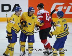 IIHF World Championship 2015 Preliminary Round AUT - SWE Torjubel: Filip FORSBERG (SWE), Anton LANDER (SWE), Loui ERIKSSON (SWE) ⒸWerner Krainbucher/Puckfans.at