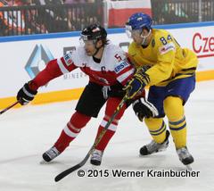 IIHF World Championship 2015 Preliminary Round AUT - SWE Thomas RAFFL (AUT), Oscar KLEFBOM (SWE) ⒸWerner Krainbucher/Puckfans.at