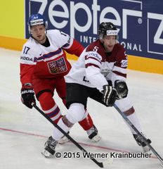 IIHF World Championship 2015 Preliminary Round LAT - CZE Vladimir SOBOTKA (CZE); Janis SPRUKTS (LAT) ⒸWerner Krainbucher/Puckfans.at