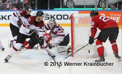 IIHF World Championship 2015  Preliminary Round SUI - LAT Guntis Galvins #13, Andris Dzerins #25, Edgars Masalskis #31, Reto Suri #26 ⒸWerner Krainbucher/Puckfans.at