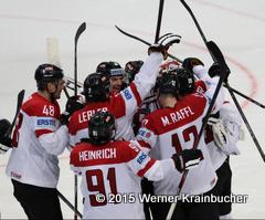 IIHF World Championship 2015 Preliminary Round SUI - AUT Siegesjubel Team Austria  ©Werner Krainbucher/Puckfans.at