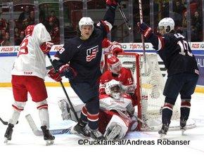 IIHF World Junior Championship 2016 Finland/Helsinki, Helsingin Jäähalli    DEN - USA Sonny Milano #28, Mathias Seldrup #1, Morten Jensen #15, Anders Bjork #10 ©hockeyfans.ch/Andreas Robanser