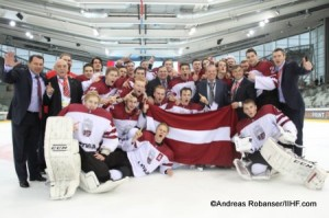 IIHF U20 World Championship Div I Group A Albert Schultz-Eishalle Champion Team Latvia Andreas Robanser/IIHF.com