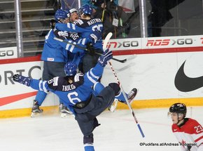 IIHF World Junior Championship 2016 Finland/Helsinki, Hartwall Arena Quarterfinal FIN - CAN Travis Sanheim #23, Joni Tuulola #6, Julius Nättinen #25 ©Puckfans.at/Andreas Robanser
