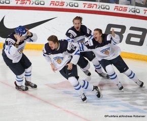 IIHF World Junior Championship 2016 Finland/Helsinki, Hartwall Arena Gold Medal Game RUS - FIN GWG Kasperi Kapanen #24,Aleksi Saarela #19, Miro Keskitalo #3, Vili Saarijärvi #18 ©Puckfans.at/Andreas Robanser