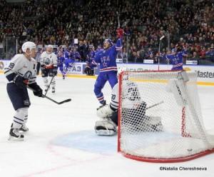 SKA St.Petersburg - Medvescak Zagreb KHL Saison 2015-16 Tuukka Mäntylä #18, Danny Taylor #30, Jarno Koskiranta #4, Ilya Kovalchuk #17 ©Natalia Chereshneva