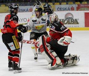 EBEL Playoffs 1/4 Finale Game 1 HC Orli Znojmo - Dornbirner EC Lubomir Stach #26, Chris D'Alvise #15, Patrik Nechvátal #7 ©Puckfans.at/Andreas Robanser