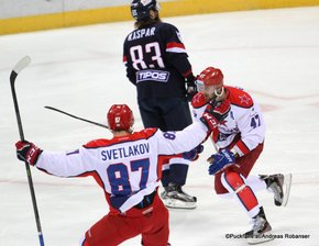 KHL West Conference 1/4 Final Game 4 Slovan Bratislava - CSKA Moskau Andrei Svetlakov #87, Alexander Radulov #47, Lukas Kaspar #83 ©Puckfans.at/Andreas Robanser