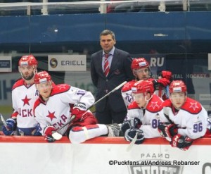 CSKA Moskau KHL Saison 2015-16 Alexander Radulov #47, Dmitri Kugryshev#18, Dmitri Kvartalnov, Vladimir Zharkov #25, Andrei Kuzmenko #96 ©Puckfans.at/Andreas Robanser