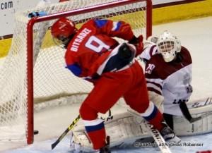 2016 IIHF U18 World Championship RUS - LAT Ralph Engelstad Arena, Grand Forks Mikhail Bitsadze #9, Gustavs Davis Grigals  #29 ©Puckfans.at/Andreas Robanser
