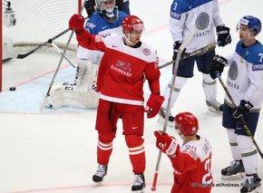 2016 IIHF World Championship Russia, VTB Ice Palace, Moscow  DEN - KAZ Dmitri Malgin #32, Vyacheslav Tryasunov #3, Jannik Hansen #36, Nikolaj Ehlers #24 ©Puckfans.at/Andreas Robanser
