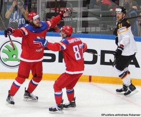 2016 IIHF World Championship Russia, VTB Ice Palace, Moscow  Quarter Final RUS - GER Ivan Telegin #7, Vadim Shipachyov #87, Moritz Müller #91 ©Puckfans.at/Andreas Robanser