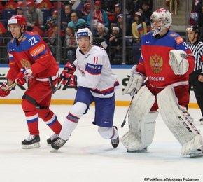 2016 IIHF World Championship Russia, VTB Ice Palace, Moscow  RUS - NOR Maxim Chudinov #73, Mathis Olimb #46 ©Puckfans.at/Andreas Robanser
