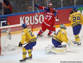 2016 IIHF World Championship Russia, VTB Ice Palace, Moscow RUS - SWE Artemi Panarin #27, Yevgeni Dadonov #63, Jacob Markström #25, Erik Gustafsson #29 ©Puckfans.at/Andreas Robanser