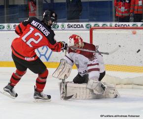 IIHF U18 World Championship 2017 LAT - CAN Stelio Mattheos #12, Niklavs Rauza #30 ZS Poprad, Slovakia ©Puckfans.at/Andreas Robanser