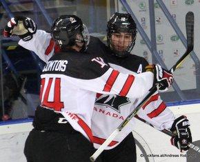 IIHF U18 World Championship 2017 CAN - SVK Maxime Comtois #14, Stelio Mattheos #12 ZS Poprad, Slovakia ©Puckfans.at/Andreas Robanser