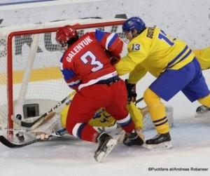 IIHF U18 World Championship 2017 Bronze Medal Game RUS - SWE Adam Åhman #30, David Gustafsson #13, Danila Galenyuk #3 ZS Poprad, Slovakia ©Puckfans.at/Andreas Robanser